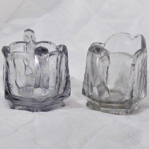 Crystal Creamer and Sugar Set Floral Etched